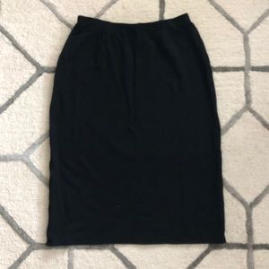 Eileen Fisher | Wool Blend Black Pencil Skirt